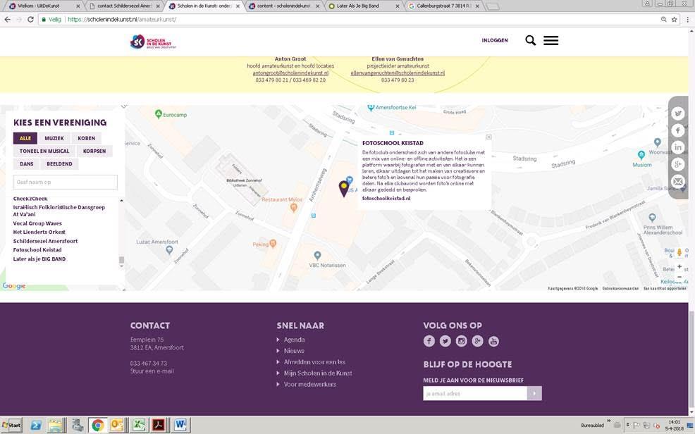 plattegrond beeldende verenigingen amersfoort
